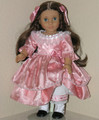 1800s Style Handmade 18 inch American Girl Doll Dress Rose Satin