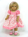 American Girl Handmade Doll Dress Pink Floral Dot