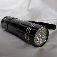 Black light hand held flashlight for close inspection.