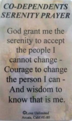 CO-DEPENDENT'S SERENITY PRAYER WALLET CARD