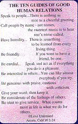 THE TEN GUIDES OF HUMAN RELATIONS WALLET CARD
