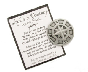 LIFE IS A JOURNEY COMPASS POCKET CHARM