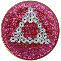 CRYSTALLIZED GLITTER PINK DIAMOND MEDALLION