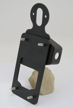 Rotating Axle Mount License Plate Bracket - Textured Black Powder Coat - Motorcycle Chopper Bobber Harley Cafe Racer