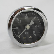 "Marshall 60 psi Oil Pressure Gauge - Shock Proof and Liquid Filled - 1/8"" NPT Fitting - Carbon Fiber Style Gauge Face - Bobber Chopper Cafe Racer"