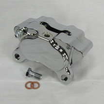 DNA Specialty Billet Aluminum Motorcycle 4-Piston Brake Caliper WITH PADS - CHROME Plated - Harley Chopper Bobber Cafe Racer