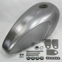 """Narrow """"SLIM"""" Scalloped Legacy Gas Tank with Custom Mounting KIT - Steel - 2.75 Gallon Capacity - Harley Motorcycle Chopper Bobber Cafe Racer Fuel Cell Petrol"""