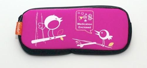 Holds 2 epinephrine injectors & single dose Benadryl.