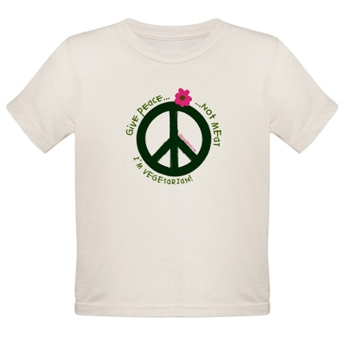kids give peace not meat vegetarian inspired tshirt