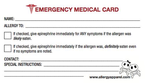 Emergency Medical Card, Plastic