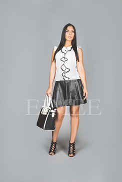 Black Leather Skirt A Line High Waisted SlEENA
