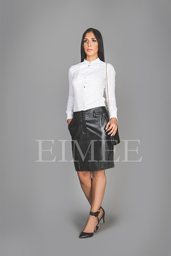 Black Leather Office Skirt Tight Fit Goat Nappa AMY