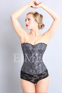 Brocade corset with steel bones unique black print ANOUSHKA