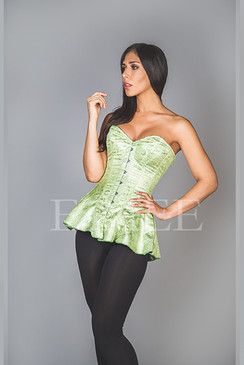 Corseted Skirt Green Brocade SHENI