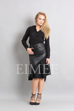 Gorgeous Real Leather Skirt With Wool Panels LEENI