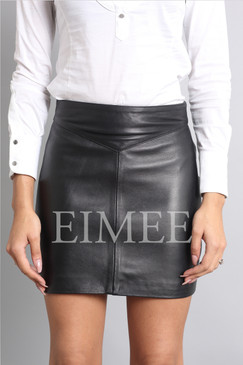 Leather Skirt Classic Design Side Zip Mini Skirt SOPHIA