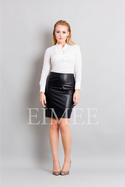 Full Grain Leather Sheath Office Skirt CHANI
