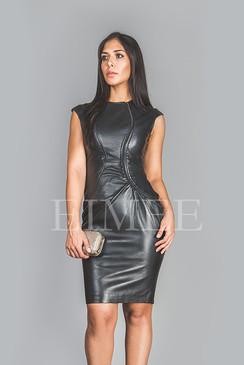Soft Black Leather Dress Top Calf Length Burlesque CATRINA