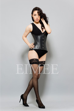 Black Leather Under Bust Edwardian Corset EMEERA