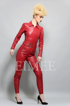 Luxury Red Leather Catsuit Dress Jumpsuit