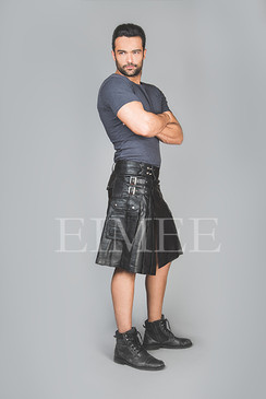 Mens Full Grain Goat Leather Kilt Pleated RAFFEL