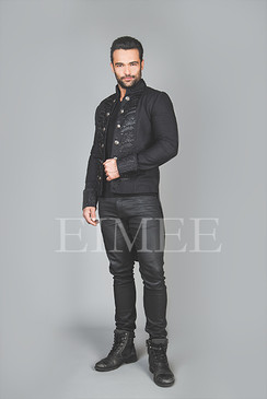 Black Cotton Mens Embroidered Outfit Vintage Wedding AREBB