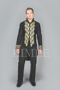 Tailcoat Black Cotton Mens Embroidered Outfit Vintage Wedding Dress KENTZ