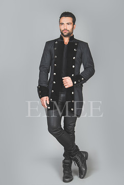 Velvet and Cotton Steampunk Jacket for Men RENEE