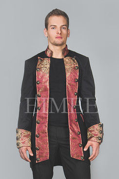 Cotton tailcoat Steampunk Jacket Maroon HARINGTON