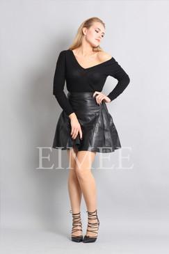 Black Leather Skirt High Waisted JAQUINEE
