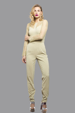 Elegant Women's Jumpsuit Playsuit All in One Dress with Mesh Arms Beige
