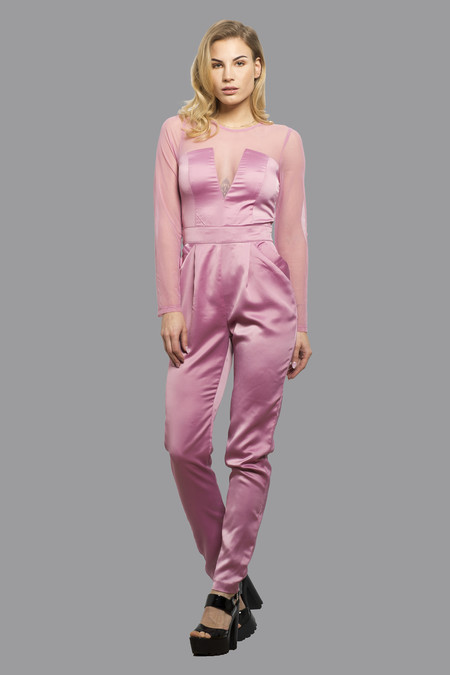 Elegant Womens Jumpsuit Playsuit Catsuit All in One Dress with Mesh Arms Alle Pink