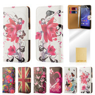 32nd attractive leather design book wallet Sony Xperia M4 Aqua Case.