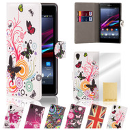 32nd attractive faux leather design book wallet Sony Xperia Z1 Compact Case.