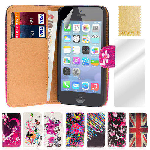 32nd attractive faux leather design book wallet Apple iPhone 5C Case.