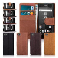 32nd premium Italian leather book wallet Sony Xperia Z5 Compact Case.