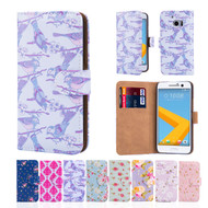 32nd faux leather floral design book wallet HTC 10 Case.