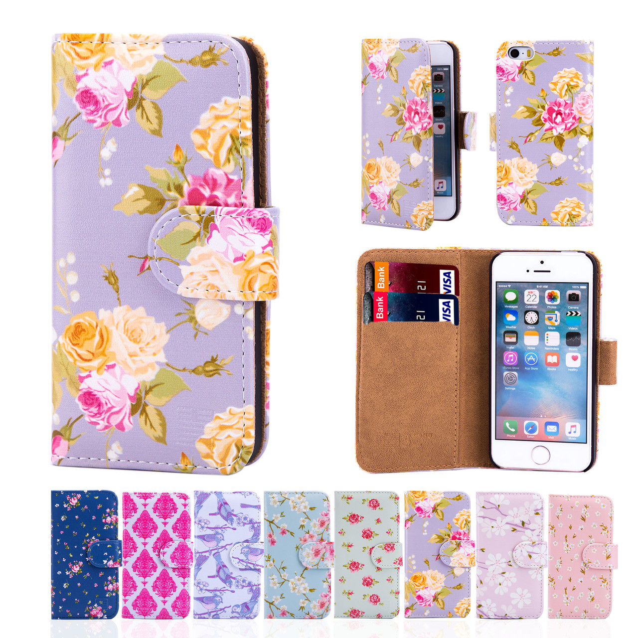 Apple iphone se pu leather floral design book wallet case for Apple design book
