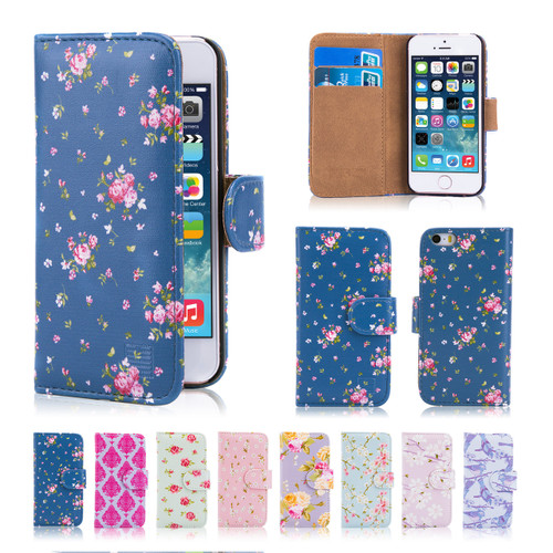 32nd synthetic leather floral design book wallet Apple iPhone 6 Plus 5.5 inch Case.
