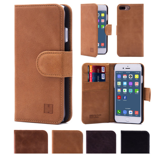 32nd premium Italian leather book wallet Apple iPhone 7 Plus 5.5 inch Case.
