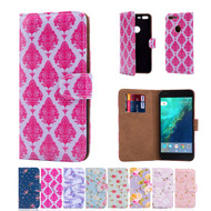 32nd synthetic leather floral design book wallet Google Pixel Case.