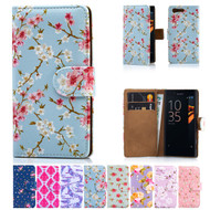32nd synthetic leather floral design book wallet Sony Xperia X Compact Case.