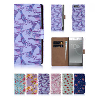 32nd synthetic leather floral design book wallet Sony Xperia XZ Premium Case.