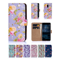 32nd faux leather floral design book wallet Nokia 6 Case.