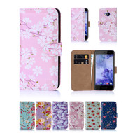 32nd faux leather floral design book wallet HTC U Play Case.