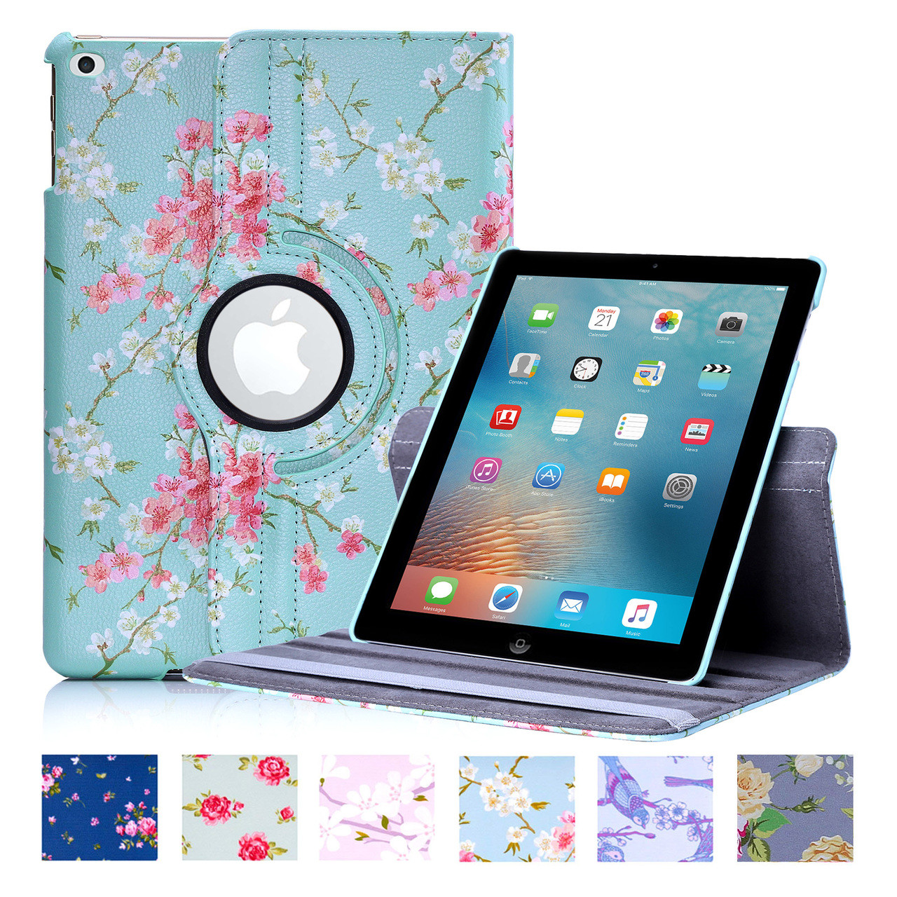 Apple ipad 2017 pu leather floral design 360 book case for Apple design book