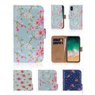 32nd synthetic leather floral design book wallet Apple iPhone X Case.