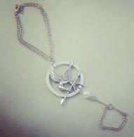 Silver Mockingjay Inspired Hand Bracelet