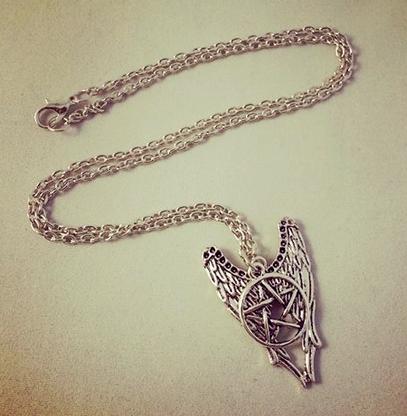 Supernatural Pentacle Angel Wings Inspired Pendant
