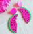 Laser Cut Watermelon Slice Drop Earrings - Cobalt Heights